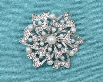 """2 1/4"""" Silver Wedding Brooch Pearl Bridal Brooch Bridal Sash Cake Decor DIY Supplies Silver Rhinestone Brooch"""
