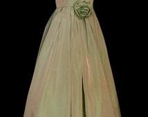 40's Iridescent Light Teal Green Gown       VG32