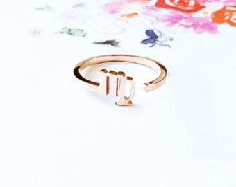 Horoscope Virgo Ring Band 18K Rose Gold Horoscope Ring Adjustable Ring Stack Ring Multifinger Thumb Ring Simpe Creative Birthday Gift Ring