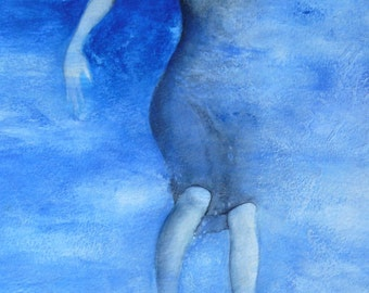 Original Renaissance painting woman Blue sea water abyss