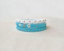 Set 3 of Roll on Bracelet /White blue bracelet / Handmade / Geometric, triangle / Beaded Crocheted / Nepal roll on bracelet/ SALE