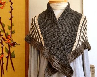 Alpaca Merino & Bamboo Striped Shawl Hand Knit in Natural Beige Brown Lightweight