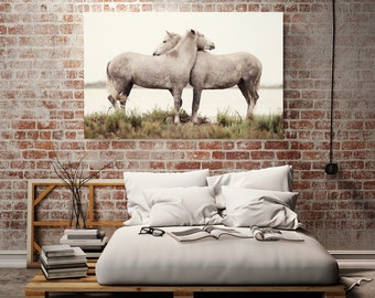 "Horse Couple Canvas Print, Valentines Home Decor, Nature Wall Decor, Large Canvas Art, Horse Art Print, Bedroom Art ""Embrace"""