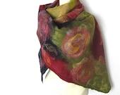 Hand Felted Scarf Merino Wool Silk Floral Dark Blue Rose Plum Scarlet Purple Green Floral