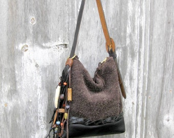 Black and Brown Small Leather Bag with Beaded Fringe by Stacy Leigh