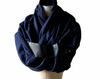 black friday SALE Scarf , Men's Scarves , Winter Navy Blue Wool Angora Scarf , Women's Shawls , Leather Scarves
