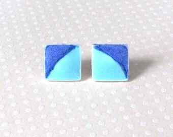 Medium Small Porcelain Earrings. Square. Aqua & Cobalt Blue. Studs. Turquoise. Indigo. Denim. Post Earrings. Surgical Steel. Simple. Comfy
