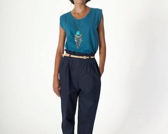 High Waisted Navy Blue Trousers - 100% Cotton - Tapered - Pleated - Carrot - Tailored Pants - Pockets - Vintage Style - Fairtrade Clothing
