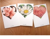 I love you note cards, Valentines Day stationery, flower and heart greeting card set