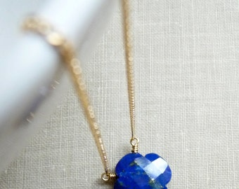 Lapis Lazuli Necklace, Clover Shaped Pendant, Gold Filled Chain Necklace, Gemstone Jewelry