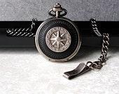 Nautical Compass Pocket Watch Chain Fob Antique Silver Black Roman Numerals Men's 3rd Third Leather Anniversary Wedding Birthday Retirement