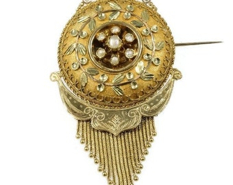 Floral Gold Brooch Long Pin Orient Seed Pearl Tassel Antique Victorian c.1880