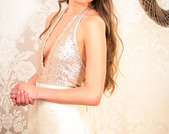 Wedding Dress SAMPLE SALE -- Wedding Dress Separates - Blush Halter Neck Sequinned Wedding Gown Bodice