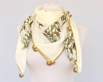 Vintage Scarf Lacework scarf Handprinted cotton summer scarf Yemeni square scarf Oya handmade lacework Turkish cotton gauze scarves Unused