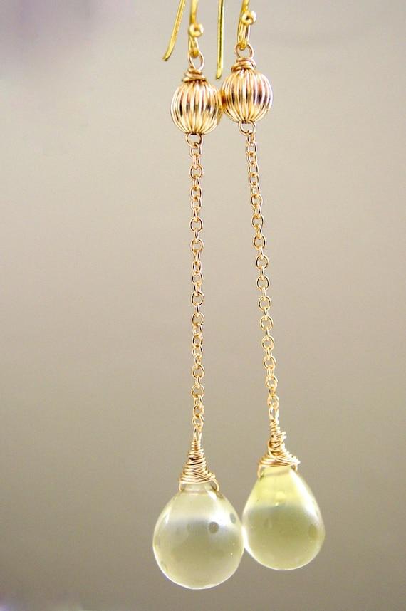 Yellow Quartz Polka Dot Etched Dangle Gold Earrings