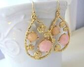 Pink Peach Gold Teardrop Earrings - Matte gold and pastel teardrop earrings