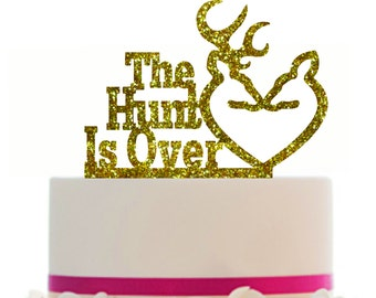 Wedding Cake Topper The Hunt is Over, choice of color, Removable spikes and a FREE base for table display