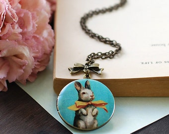 Bunny Locket Necklace. Rabbit Locket Necklace. Round Brass Locket with Ribbon Necklace, Rabbit Jewelry. Bunny Jewelry, Easter Jewelry