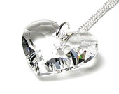Truly In Love Swarovski Crystal Clear Heart Necklace, Heart Necklace, Silver Pendant Necklace, Romantic Gift For Her, New Jewelry For Women,