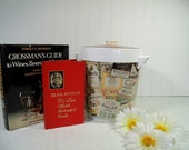 Retro Old Mr. Boston Ice Bucket with Official Bartenders Guide & Grossmans Guide to Wines Beers Spirits - Vintage Large Ice Bin 2 Books Set