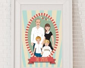 Custom Family Portrait - Any size family. Unique OOAK Gift Idea for Shower, Wedding, Anniversary, Fathers Day, Mothers Day, Bridal Shower