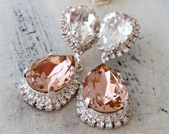 Rose gold Chandelier earringsRose gold morganite Bridal