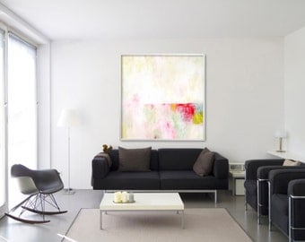LARGE Giclee Print abstract painting modern Painting Abstract Art Acrylic Painting white yellow pink