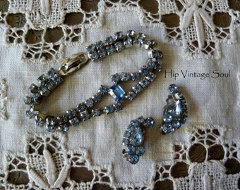 Vintage 1950's Blue Rhinestone Bracelet and Earring Set, Retro Rhinestone Jewelry, Retro Bridal Jewelry, Something Old, Something Blue