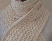 Knit  Scarf  Ivory.Lace.Fall/Winter.Sparkle.Wide.Long.Women.Mom.Gift.Make-To-Order.