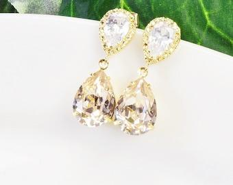 Gold Teardrop Earrings - Champagne Earrings - Swarovski Earrings - Bridesmaids Earrings - Bridesmaid Jewelry - Cubic Zirconia Earrings