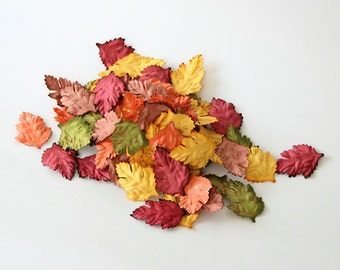 50 pcs - Mulberry paper wild rose leaves - Mixed colors -2 x 4 cm (3/4 x 1 1/2 inch)
