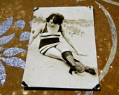 RPPC 1920s Flapper on the Beach // Original Not Reprint // Flapper Swim Bathing Suit
