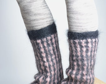 Mohair Wool Leg Warmers - Hand Felted Leg Warmers - Upcycled Leg Warmers - OOAK
