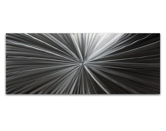 Contemporary Wall Art 'Tantalum Composition' 48x19in - Starburst Modern Decor - HD Metal Art Photo Print - Monochrome Artwork, Silver Decor