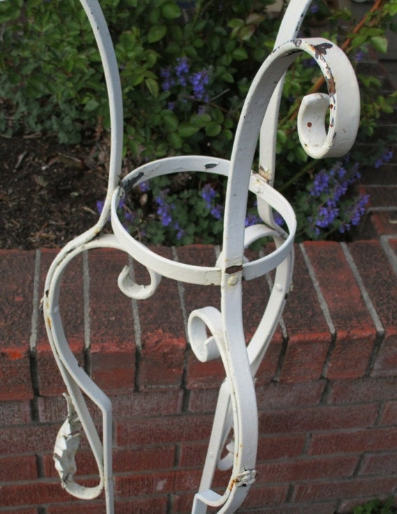 art nouveau style wrought iron white plant stand. Black Bedroom Furniture Sets. Home Design Ideas