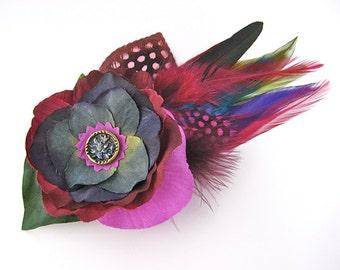 Purple feather  wedding flower accessory Bridal Romantic Fascinator Antique Button original unique Alligator clip