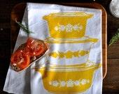 Vintage Pyrex Butterfly Gold Tea Towel