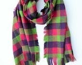 Tartan scarf blanket scarf oversized scarf gift for her girlfriend giftplaid wrap pink green purple flannel cool girlfriend gift