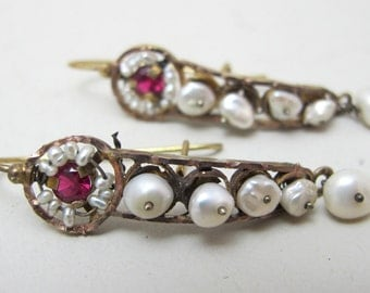 Antique Gold, Pearl and Glass Mexican Gusano Earrings