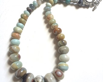 Amazonite necklace, Amazonite strand, Graduated Amazonite necklace, Graduated stone necklace. Pastel necklace, pastel amazonite necklace