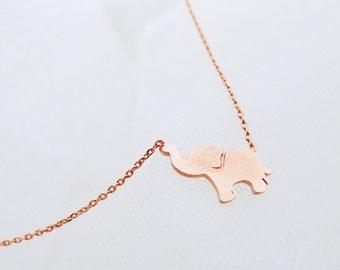 Rose gold Elephant Necklace, Elephant Jewelry