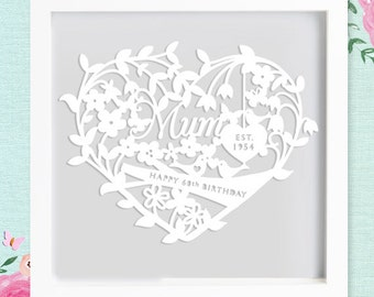 Beautiful Framed Paper cut for Mum