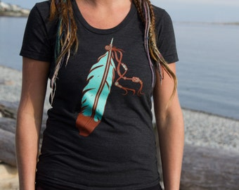 The Feather T Shirt Screen Printed Boho Urban Gypsy Perfect Gift for Her Country Western American Indian American Apparel Sizes (XS S M L)