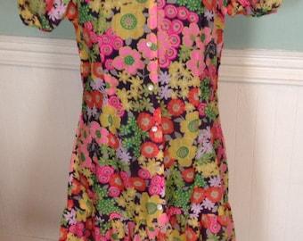 1970s Vintage Dress Mini with Bright Flowers MOD