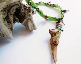 Boho Gypsy Choker Necklace, Women's Ladies Natural Jewelry, Beaded Driftwood Water Element, Beautiful Bohemian Nature Jewelry