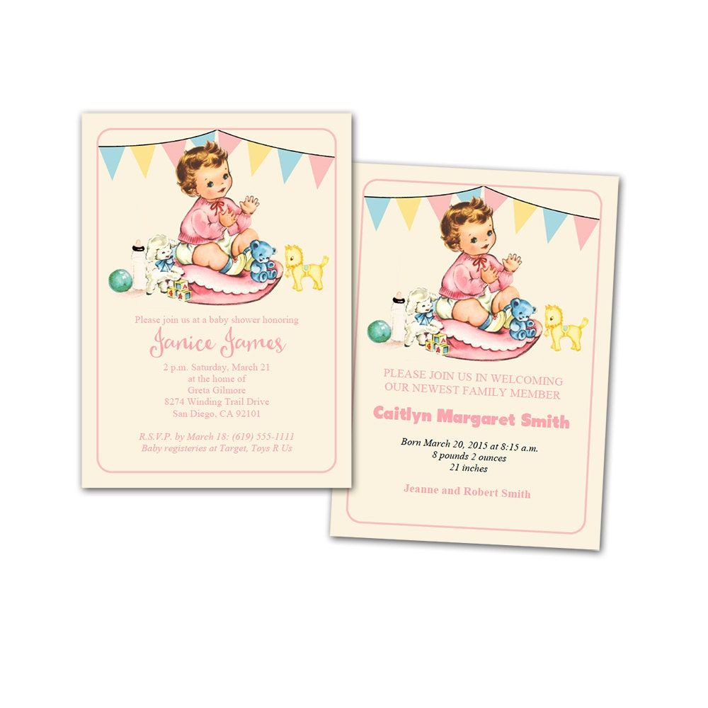 DIY vintage baby girl shower invitation baby announcement – Baby Announcement Cards Etsy