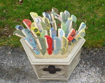6 Blank Garden marker MEDIUM Stoneware no name herb marker Set of 6 plant marker