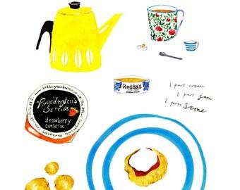 A Cornish Cream Tea illustration Art Print