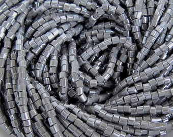 10/0 2 Cut Gray Opaque Luster | Hex Czech Glass Seed Beads 2.1 mm  | Options: 6 Strands - Hanks | #48020