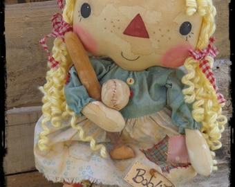 Primitive Raggedy Ann Doll, Folk Art, Country Rag Doll, Keepsake Gift, OFG FAAP
